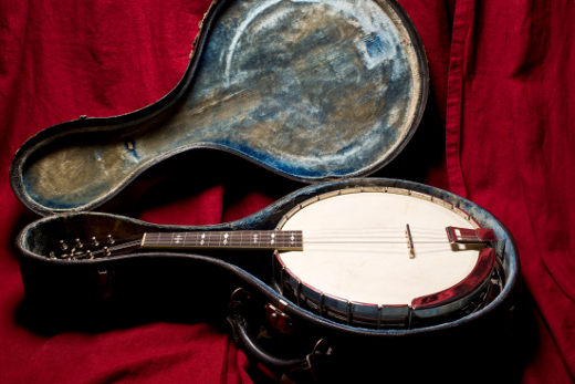 Banjolin -- This instrument is from about 1915. It is a banjo body with a mandolin neck. My father (also a musician) traded a Bassman Amp for it in the seventies.  Eventually he let me take it and put it to use in my studio.