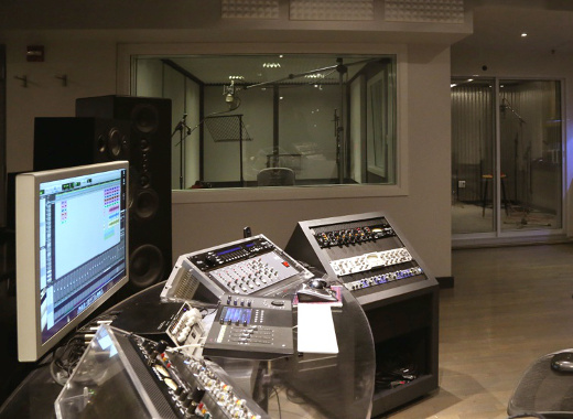 Another view of the control position, facing the booths.